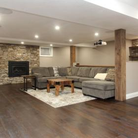 Kitchener New Basement Reno Couch Fireplace