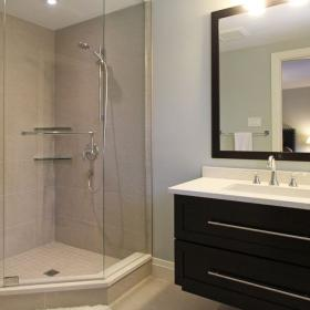 Vanity with Glass Shower