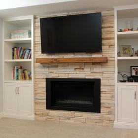 Basement Reno with Fireplace