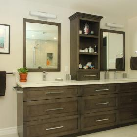 Chestnut Brown Vanity with Double Sink