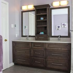 Lavender Bathroom with Double Sink