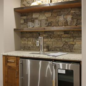 Stainless Steel Appliances in Basement Bar