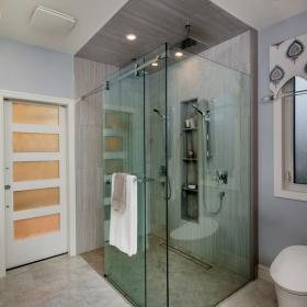 Rainfall Shower Head with Glass Shower