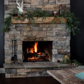 Rustic Fireplace with Live Edge Mantle