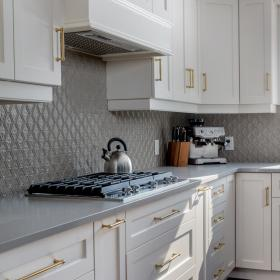 White Kitchen Cabinets with Gold Handles