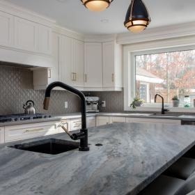 Kitchen Island with Sink and Black Faucet