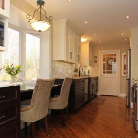 White Upper Kitchen Cabinets and Brown