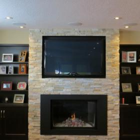 Built in Fireplace in Basement