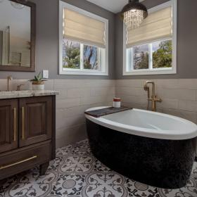 Soaker Tub with Beautiful Bathroom Titles