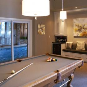 Pool Table and Built In Bench for Entertaining