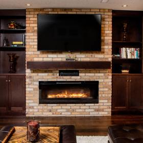 Built-in Fireplace with Brown Shelves