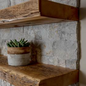 Floating Wood Shelves with Stone Backsplash