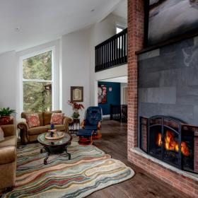 Living Room and Fireplace Layout