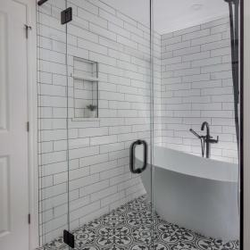 Large Glass Door for Bathroom with Soaker Tub