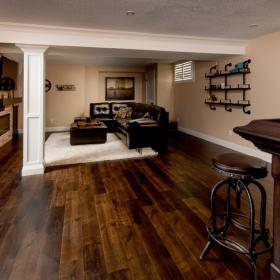 Brown Hardwood Floor for the Basement