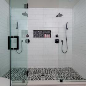 His and Hers Large Glass Showers
