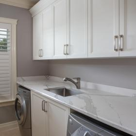 White Counter in White Laundry Room