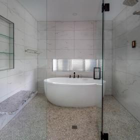 Trendy Shower Ideas with Free Standing Tub