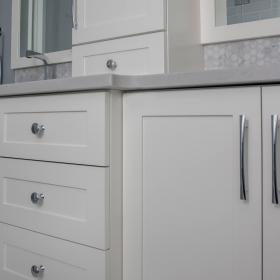 Silver Hardware with White Cabinets