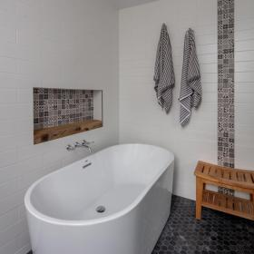 Beautiful Tile Design with Soaker Tub
