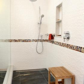 Walk In Shower with White Tile Design