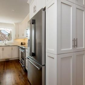 Side Pantry for Stunning White Kitchen